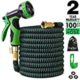 100 ft Expandable Garden Hose,Lightweight Garden Water Hose with 3/4 inch Solid Brass Fittings,Durable Outdoor Gardening Flexible Hose for Yard,Expanding Garden Hoses 9 Function Spray Nozzle (Black) (Color: Black, Tamaño: 100 feet)