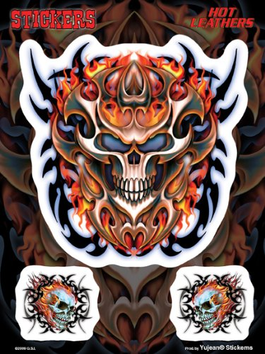 """Hot Leathers - 2 Minis Flaming Tribal Skull Biker decalcomania Sticker - 6 x 8"""" - Weather Resistant, Long Lasting for Any Surface"""