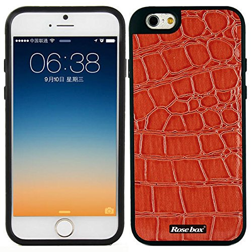 RoseBox® iPhone 6 Plus Case Apple iPhone 6 Plus Case 5.5 Case Inch Hybrid Soft Silicone Crocodile leather texture Protective Bumper Case for Apple Iphone 6 plus(5.5 inch) (Light Red Crocodile leather texture)