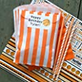 Outside the Box Papers Orange and White Stripe and Chevron Treat Sacks - Favor Bags Made in USA Wedding Birthday Party Supply- 48 Pack 5.5 x 7.5