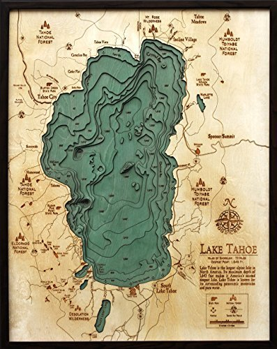 Lake Tahoe Large Wood Nautical Chart by Woodchart (Lake Tahoe Wood Chart compare prices)