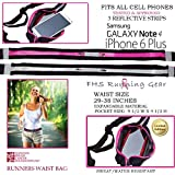 Reflective Running Gear Runner Waist Pack Fitness Belt Storage Night Safety Strips Sweat Water Resistant Expandable...