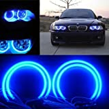 QiuKo 4pcs CCFL Angel Eye Halo Ring White Color For BMW E46 E39 E36 3 Series Coupe (blue) (Color: Blue)