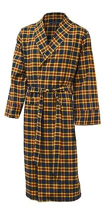 robe de chambre chambre l g re 100 coton bross carreaux carreaux bleu marine orange. Black Bedroom Furniture Sets. Home Design Ideas