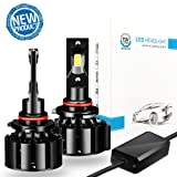 LED Headlight Bulb 9005 Conversion Kit - 9600Lm Super Bright HB3/9005 LED, 6000K White 60W 9005 Led Headlights, Focused High Beam/ Low Beam, Upgraded CSP LED Chips, 50000 Hours Life, 2 Years Warranty (Color: Black, Tamaño: 9005(HB3))