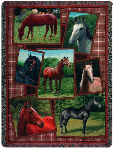 Manual Western Décor Collection 50 X 60-Inch Tapestry Throw, Horsing Around front-1038074
