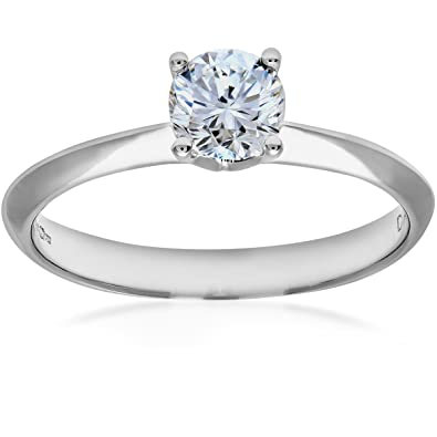 Naava 18ct White Gold Knife Edge Engagement Ring, G/SI1 EGL Certified Diamond, Round Brilliant, 0.50ct
