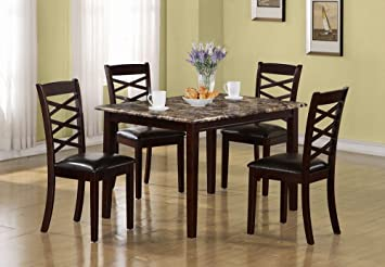 Monarch Specialties 5-Piece Marble Veneer Dining Set, Dark Cherry