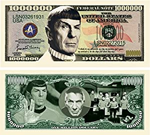 Limited Edition Spock Leonard Nimoy Star Trek Collectible Million Dollar Bill in Currency Holder