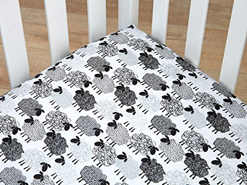 NoJo Good Night Sheep Fitted Standard Size Crib Sheet, Black & White (Black White Crib Sheet compare prices)