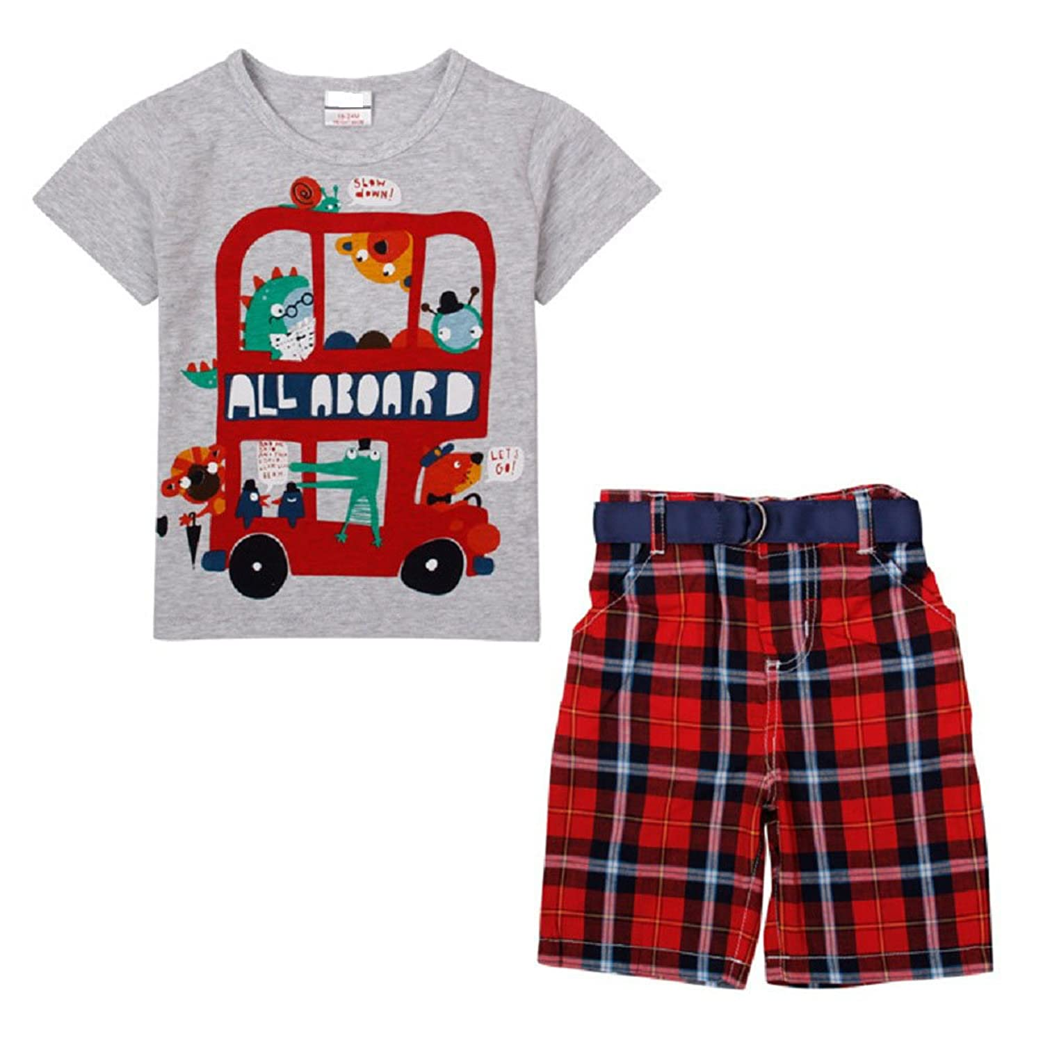 Generic Little Boys' 2 Piece Set Of Short Sleeve T-Shirt and Plaid Shorts Gray Red