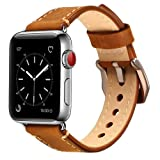 MKEKE 38mmbrownold Mkeke Apple Watch Band 38mm iWatch Strap Premium Vintage Genuine Leather Replacement Watchband with Secure Metal Clasp Buckle for Apple Watch Sport Edition (Dark Brown) (Color: light brown, Tamaño: 38mm)
