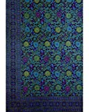 Sunflower On Purple and Turquoise Indian Bedspread, Twin Size