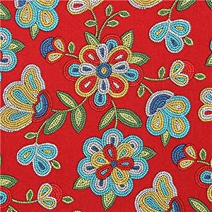 red Beaded Floral flower fabric Elizabeth's Studio from the USA (per 0