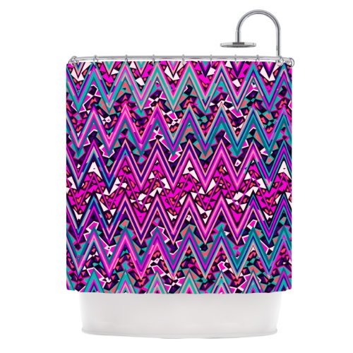 Pink Electric Chevron Shower Curtain