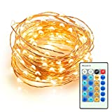 Dimmable Led String Lights, TaoTronics 100 Leds Twinkle lights 33 ft Copper Wire Lights for Indoor Outdoor, Christmas Decorative Lights for Seasonal Holiday( Warm White )