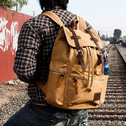 GEARONIC TM Men's Outdoor Vintage Canvas Military Shoulder Travel Hiking Camping School Bag Backpack Fit for Notebook Macbook 11 , 13, 15 inch Air Pro Laptop 1