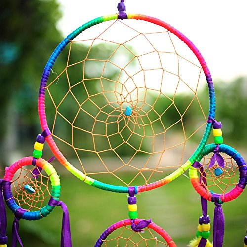 Soledi 2015_Ring Handmade Colorful Dream Catcher Circular Net With_feathers Wall Hanging Decoration Decor Ornament Craft Gift