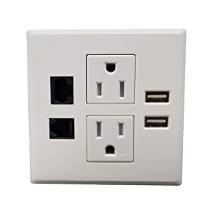 Desktop Conference Room Power Grommet Outlet, FITS 3 1/8 - 3 1/4 Hole, 2 (TR) AC Outlets, 2 USB Charging Ports, 1 CAT6 Phone line, ETL Listed (WHITE) (Color: DC-8489- Fit 3.15 - 3.25 W/ CAT6 - WHITE)