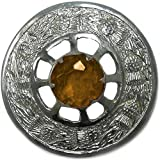 Mens Circular Chrome Scottish Highland Amber Stone Kilt Fly Plaid Brooch