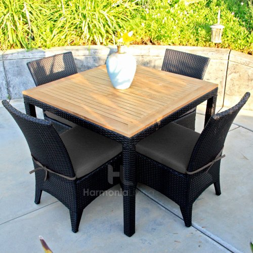 Harmonia Living Arbor 5 Piece Modern Patio Dining Set with Gray Sunbrella Cushions photo