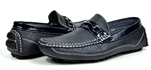PEPE-3 Bruno HOMME MODA ITALY Men's Fashion Driving Casual Loafers Boat shoes Navy Size 9.5