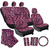 OxGord® 21 Piece Complete Matching Gift Set of Animal Print Deluxe Zebra Fur / Car Seat Covers Full Set / Auto Carpet Floor Mats / Vehicle Steering Wheel Cover & Shoulder Pads - Airbag Compatible - Front Low Back Buckets - 50/50 or 60/40 Rear Split Bench - Universal Fit for Cars, Truck, SUV, or Van, Hot Pink