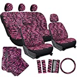OxGord® 21pc Set of Zebra Print Car Seat Covers w/Deluxe Velour Animal Carpet Floor Mats, Steering Wheel Cover & Shoulder Pads - Airbag Compatible - Front Low Back Buckets - 50/50 or 60/40 Rear Split Bench - Universal Fit for Cars, Truck, SUV, or Van, Hot Pink