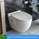 Wand Hänge WC / Design WC-Sitz / inkl. Soft-Close Funktion / Weiss / Keramik / Tiefspüler