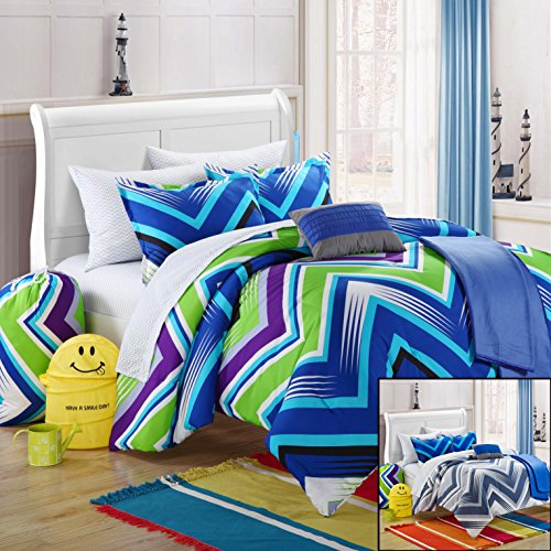 Chic Home 8-Piece Ziggy Zag Comforter Set With Shams Decorative Pillows And Sheet Set, Twin, Blue front-421141