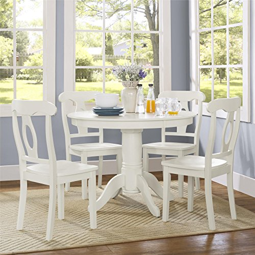 Dorel Living Aubrey 5 Piece Traditional Height Pedestal Dining Set, White (Pedestal Table With Chairs compare prices)