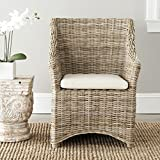 Safavieh St Thomas Indoor Wicker Washed-out Brown Wing Back Wood Arm Chair