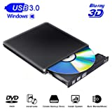 Blu Ray External Drive Player 3D USB 3.0 Writer/Reader/Burner Slim Optical Portable Blu-ray CD DVD Drive RW Compatible with XP/Win7/Win8/Win10/Linux System for Laptop PC iMac MacBook Os (Color: Black)