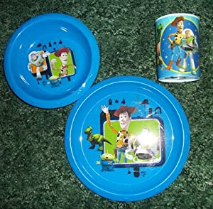 Children Toy Story 3 Piece Dinnerware Set/ 9 inch Plate/8 inch Bowl/12 oz. glass