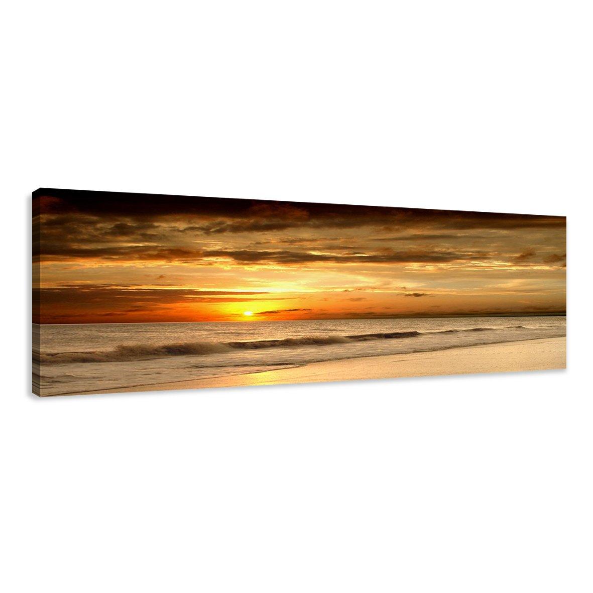 Cuadros en Lienzo playa 120 x 40 cm modelo Nr. 5703 XXL Las imágenes estan listas, enmarcadas en marcos de Madera auténtica. El diseño de la impresión artística como un Mural enmarcado. - Electrónica Más información y revisión del cliente