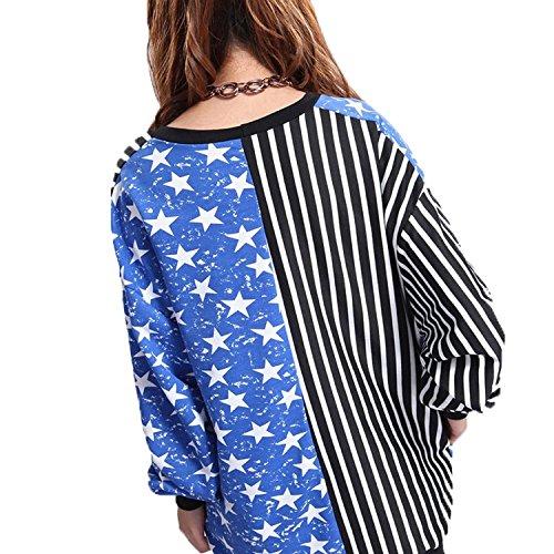 Allentati Stripes maglione della stella Cappotto Cardigan con scollo a V da donna