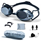 PHELRENA Swimming Goggles, Professional Swim Goggles Anti Fog UV Protection No Leaking for Adult Men Women Kids Swim Goggles with Nose Clip, Ear Plugs, Protection Case and Interchangeable Nose Bridge (Color: Black, Tamaño: Standard)