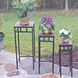 4D Concepts 3-Piece Slate Square Plant Stands with Slate Tops, Metal/ Slate