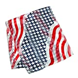 CTM-Womens-Satin-Long-American-Flag-Scarf-NavyRed