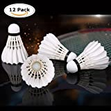 ZN 12-Pack Advanced Goose Feather Badminton Shuttlecocks with Great Stability and Durability,Indoor Outdoor Sports Hight Speed Training Badminton Birdies Balls