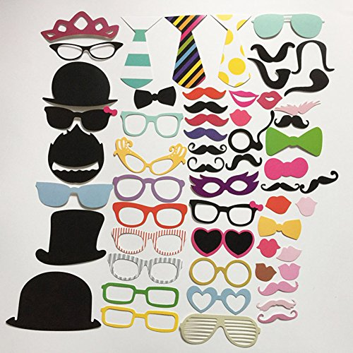 LATH.PIN 50pcs Accessoires Photographié Props Masque avec baton moustache lèvre lunettes pour Mariage Noel Party Anniverssaire (50pcs)