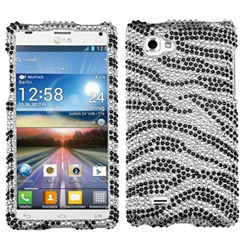 Aimo LGP880HPCDM010NP Dazzling Diamante Bling Case for LG Optimus 4X HD P880 - Retail Packaging - Black Zebra Skin (Lg 4x Hd Case compare prices)