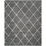 Safavieh Moroccan Shag Collection MSG343B Grey and Ivory Area Rug, 8-Feet by 10-Feet
