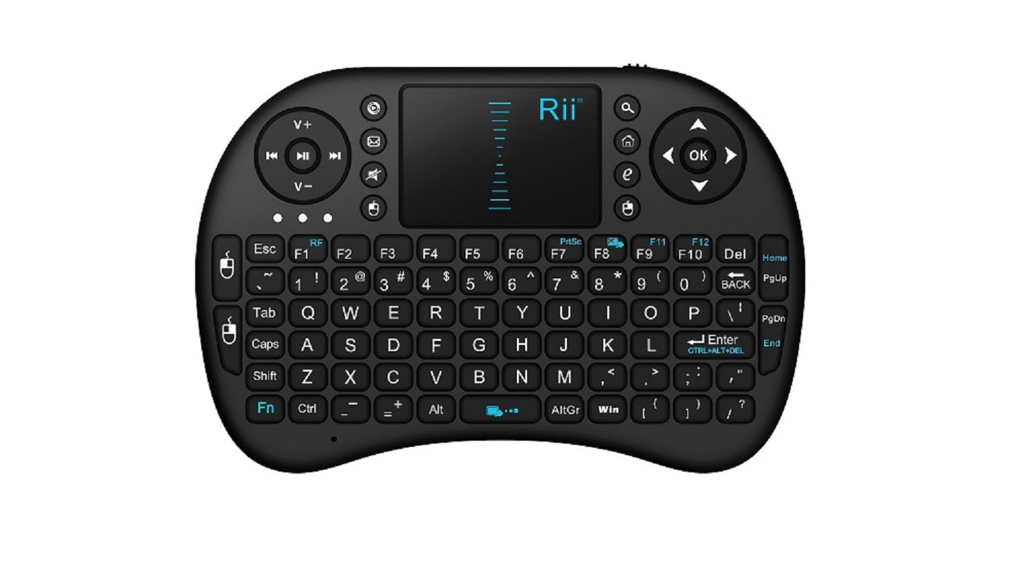 Rii i8 2.4GHz Wirelesss Touchpad Keyboard Mouse for PC, Android TV Box, Black (RT-MWK-08)