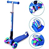 ChromeWheels Scooters for Kids, Deluxe Kick Scooter 4 Adjustable Height 150lb Weight Limit 3 Wheel, Lean to Steer LED Light Up Wheels, Best Gifts for Girls Boys Age 6-12 Year Old, Blue (Color: Blue)