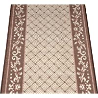 Caramel Scroll Border Washable Non-Skid Carpet Rug Runner - Purchase By the Linear Foot