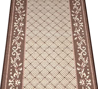 caramel scroll border washable non skid carpet rug runner purchase by the linear. Black Bedroom Furniture Sets. Home Design Ideas