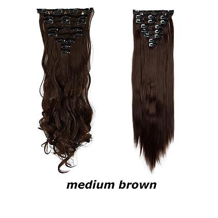 syalex (TM) Sexy Party cheveux 8Extensions de cheveux tête complète 18Clip 66cm 66cm longue ligne droite perruque de coiffure long Parti nous
