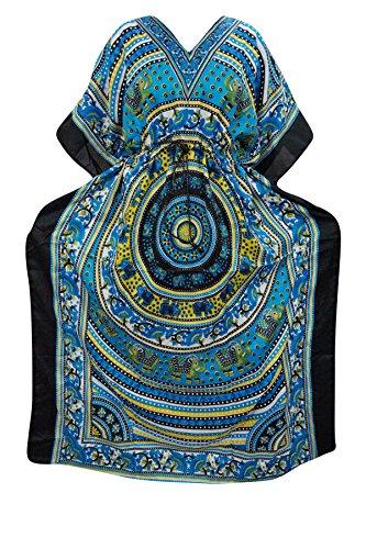 Indiatrendzs Women's Long Printed Boho Blue Kaftan Dress With Dori At Waist  available at amazon for Rs.387