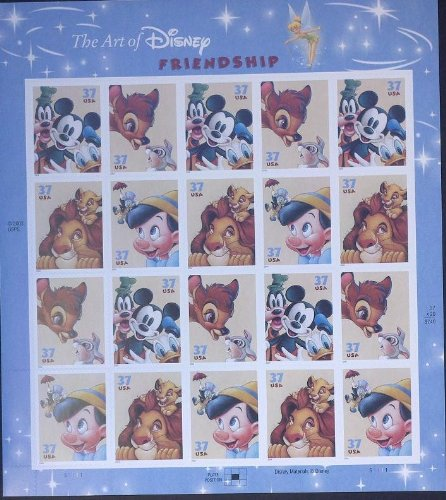 The Art of Disney Friendship Sheet of 20 x 37-cent Stamps, Scott 3865-68 - 1